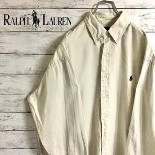 【超人気】ラルフローレン☆刺繍ワンポイントロゴ ベージュ コットン長袖BDシャツ