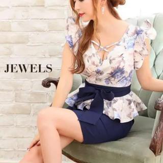 ジュエルズ(JEWELS)の《美品》Jewels 2way ペプラム 花柄 ドレス ワンピース M(ミニドレス)