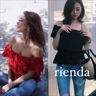 rienda - rienda レース オフショル ペプラム トップス♡RESEXXY ムルーア