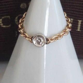 ココシュニック(COCOSHNIK)のココシュニック K10 チェーンリング ダイヤモンド 7号 美品 コンビカラー(リング(指輪))