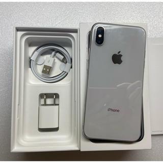 アイフォーン(iPhone)の美品 iPhoneX 256GB simフリーシルバーバッテリー88%(スマートフォン本体)
