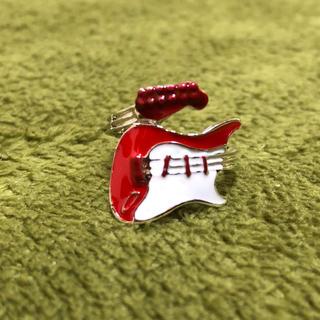 特価高品質!ギターのメタルリング赤   10、11号相当(リング(指輪))