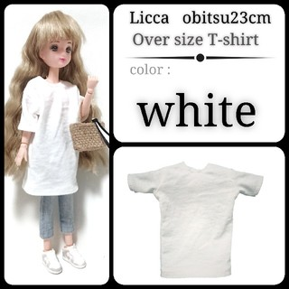 オーバーサイズTシャツワンピ ホワイト 白 リカちゃん リアルクローズ オビツ(その他)