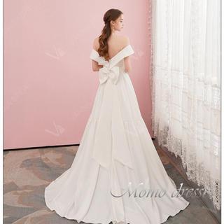 サテンウェディングドレス結婚式ドレスM66(ウェディングドレス)
