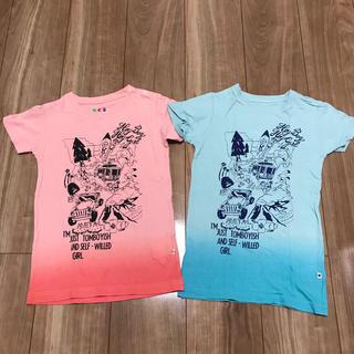 ロデオクラウンズ(RODEO CROWNS)のロデオクラウンズS95-105Tシャツチュニックワンピース②点ピンクブルーグラデ(Tシャツ/カットソー)