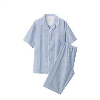 ムジルシリョウヒン(MUJI (無印良品))の無印良品脇に縫い目のない サッカー織り半袖パジャマ 紳士M・ブルー×ストライプ(その他)