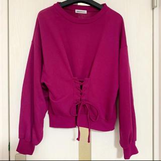 WEGO - 【本日限定セール】WEGO 韓国ファッション♡前リボン付きトレーナー濃いピンク
