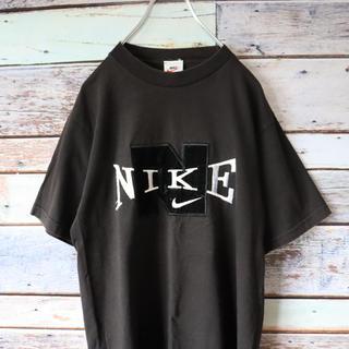 ナイキ(NIKE)の希少 ナイキNIKE 白タグ 立体ロゴ 刺繍 ブラック(Tシャツ/カットソー(半袖/袖なし))