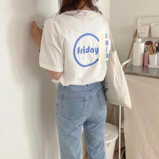 Kastane - Friday Tシャツ ロゴブルー