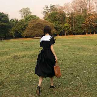 ひざ丈ワンピースレディース夏女性半袖セーラー襟黒コーデNA64892(ひざ丈ワンピース)