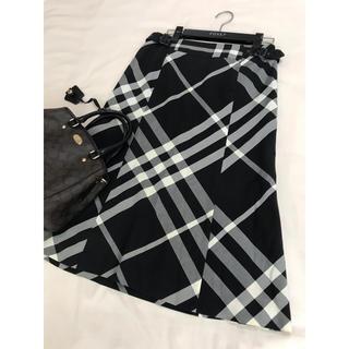 バーバリー(BURBERRY)のバーバリー ロンドン スカート チェック ブラック 黒 ミモレ(ひざ丈スカート)