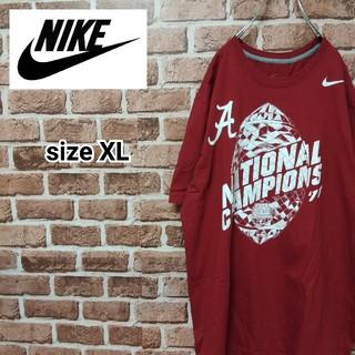ナイキ(NIKE)の《ナイキ》XLビッグシルエット レッド系 ワンポイントロゴTシャツ(Tシャツ/カットソー(半袖/袖なし))