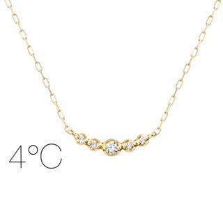 4℃ - ★現行品★【4°C】K10YG ダイヤモンドライン ネックレス
