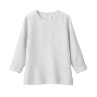 ムジルシリョウヒン(MUJI (無印良品))の無印良品オーガニックリネン洗いざらし七分袖ブラウス  婦人S・シルバーグレー(シャツ/ブラウス(長袖/七分))