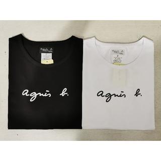 agnes b. - Sサイズ   アニエスベ一 Tシャツ レディース 半袖   ブラック+ホワイト