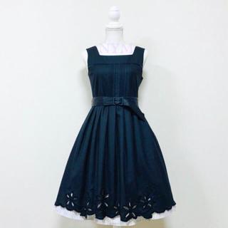 JaneMarple - タグ付き花刺繍ストライプノースリーブワンピースジャンパースカート