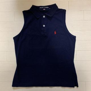 Ralph Lauren - 【古着】 日本製 ラルフローレン ノースリーブ ポロシャツ レディース M 紺色