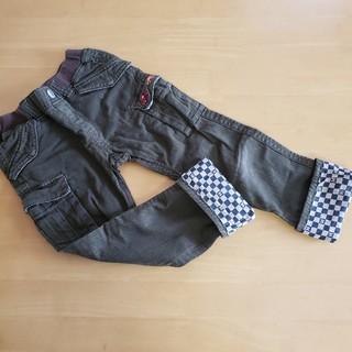 ミキハウス(mikihouse)の美品120☆ミキハウス裾折り返し市松模様車長ズボン(パンツ/スパッツ)