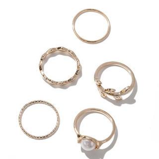 メタル×パールリング セット/ 指輪 / 5個セット