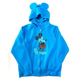 ディズニー(Disney)のディズニー ミッキー耳付きジップスウェットパーカー 青 Lサイズ(パーカー)
