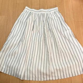 テチチ(Techichi)のダブルストライプ 膝丈白スカート(ひざ丈スカート)