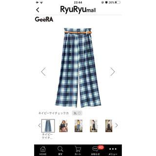 リュリュ(RyuRyu)の【大きいサイズ】ベルト付きチェック柄パンツ(カジュアルパンツ)