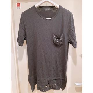 ザラ(ZARA)の定価4千円 2回着 ZARA Tシャツ ダメージ加工 ロングレンジ ブラック(Tシャツ/カットソー(半袖/袖なし))