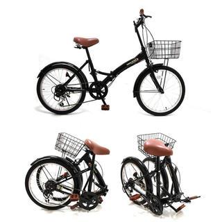 新品 折りたたみ自転車 ライト シマノ製6段ギア カゴ ライト 鍵付き 折り畳み(自転車本体)