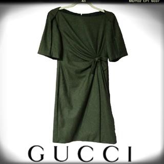 グッチ(Gucci)のグッチ ワンピース リボン ブラウン GUCCI ドレープ 茶色 春 夏 秋(ひざ丈ワンピース)