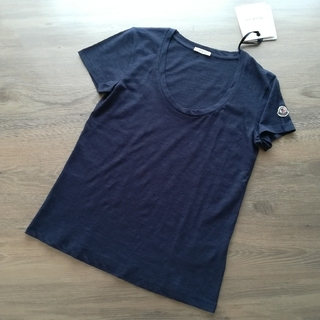 MONCLER - ダークネイビー Mサイズ レディース 薄手のUネッTシャツ モンクレール