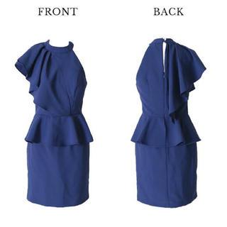 ペプラムドレス ミニドレス  キャバドレス  大きいサイズ ジュエルズ シンプル
