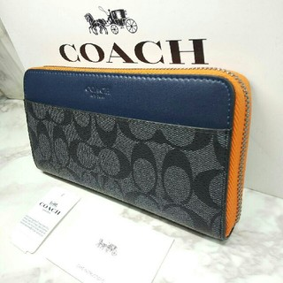COACH - [新品] シグネチャー オレンジ グレー コーチ/COACH 長財布