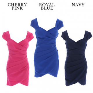 JEWELS - ジュエルズ ロングセラー シンプル 半袖ドレス カシュクール 大きいサイズ