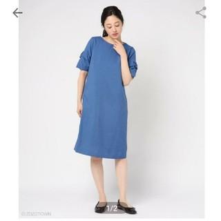 テチチ(Techichi)の(未使用)Te chichi 麻調袖口リボンワンピース(ひざ丈ワンピース)