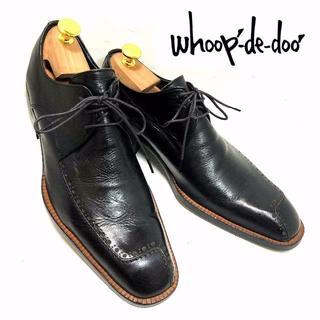 リーガル(REGAL)の美品 whoop-de-doo 24.5cm 個性的プレーントゥ 革靴黒ブラック(ドレス/ビジネス)