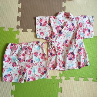 80 浴衣 ピンク 甚平 女の子