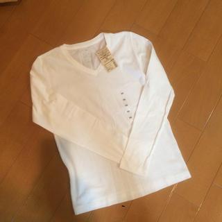 ムジルシリョウヒン(MUJI (無印良品))の無印白VネックTシャツ(Tシャツ(長袖/七分))