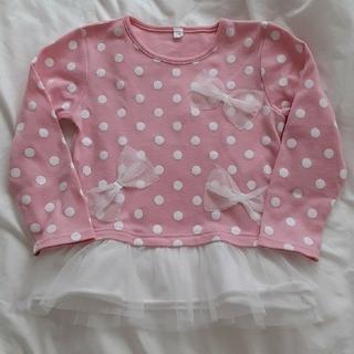 ニシマツヤ(西松屋)のsize110ピンク×ホワイト水玉長袖シャツ🎀洗濯済み❣️送料無料♥️(Tシャツ/カットソー)