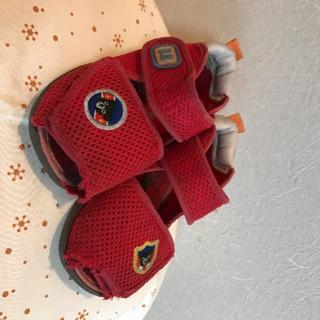 ダブルビー(DOUBLE.B)のミキハウス ダブルB サンダル 14cm ☆ メッシュ 赤 ベビー靴(サンダル)