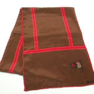 グッチ(Gucci)のグッチ スカーフ美品  - ブラウン×レッド(バンダナ/スカーフ)