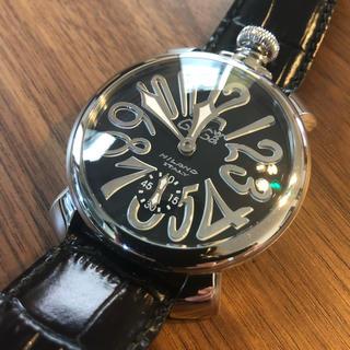ガガミラノ(GaGa MILANO)のGaGaMILANOガガミラノ 腕時計 黒ブラック(レザーベルト)