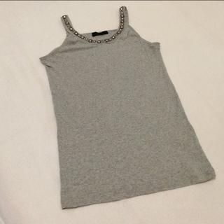 ジーナシス(JEANASIS)のJEANASIS☆胸元ビジュー刺繍付き タンクトップ(タンクトップ)