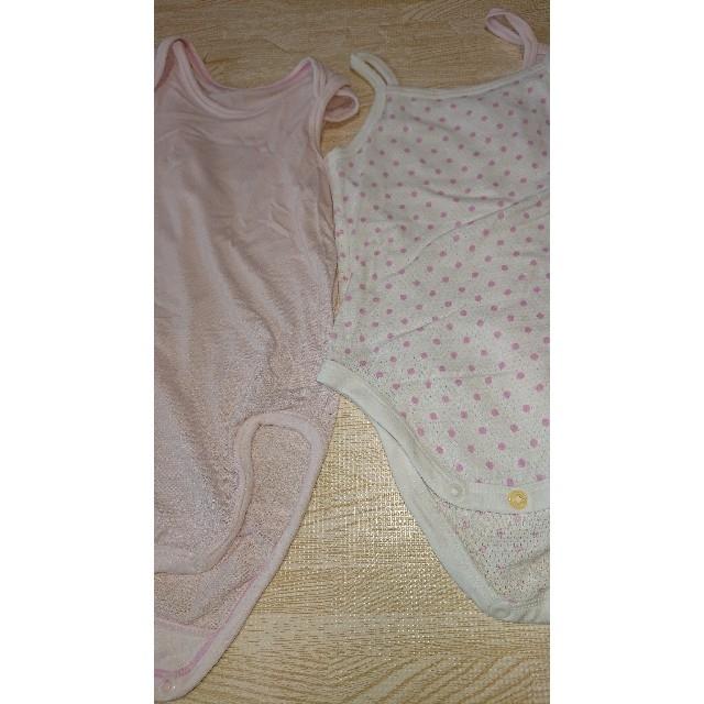 UNIQLO(ユニクロ)のユニクロ ロンパース 下着 4枚セット 女の子 エアリズム キャミソール キッズ/ベビー/マタニティのベビー服(~85cm)(肌着/下着)の商品写真