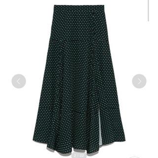 ミラオーウェン(Mila Owen)の新品タグ付❤️milaowen ランダムヘムプリントスカート(ひざ丈スカート)