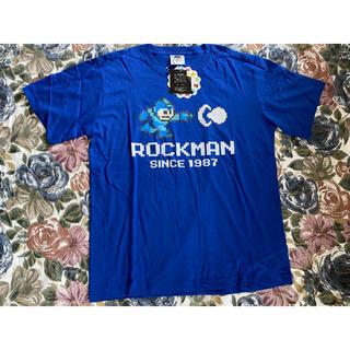 シマムラ(しまむら)の新品タグ付き しまむら ロックマン 限定シャツ ブルー XLサイズ(Tシャツ/カットソー(半袖/袖なし))