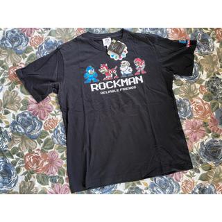 シマムラ(しまむら)の新品タグ付き しまむら ロックマン 限定シャツ ブラック XLサイズ(Tシャツ/カットソー(半袖/袖なし))