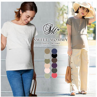 アカチャンホンポ - Sweet mommy 授乳服 Tシャツ 半袖 ホワイト Lサイズ