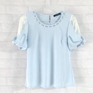 イング(INGNI)のINGNI ビジュ付きリボン袖お上品トップス ブルー(Tシャツ(半袖/袖なし))