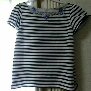 クチュールブローチ花柄刺繍ボーダーTシャツMサイズ38(Tシャツ(半袖/袖なし))