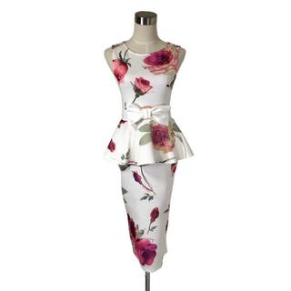 イギリス製 大輪の薔薇咲くペプラムフリル美形ワンピース ウエストおりぼん(ひざ丈ワンピース)